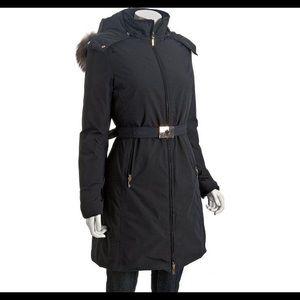 MONCLER Black Down Poitiers Coat Size 4